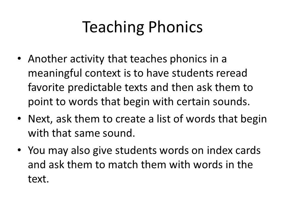 Teaching Phonics