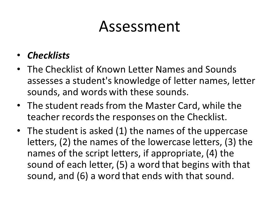 Assessment Checklists