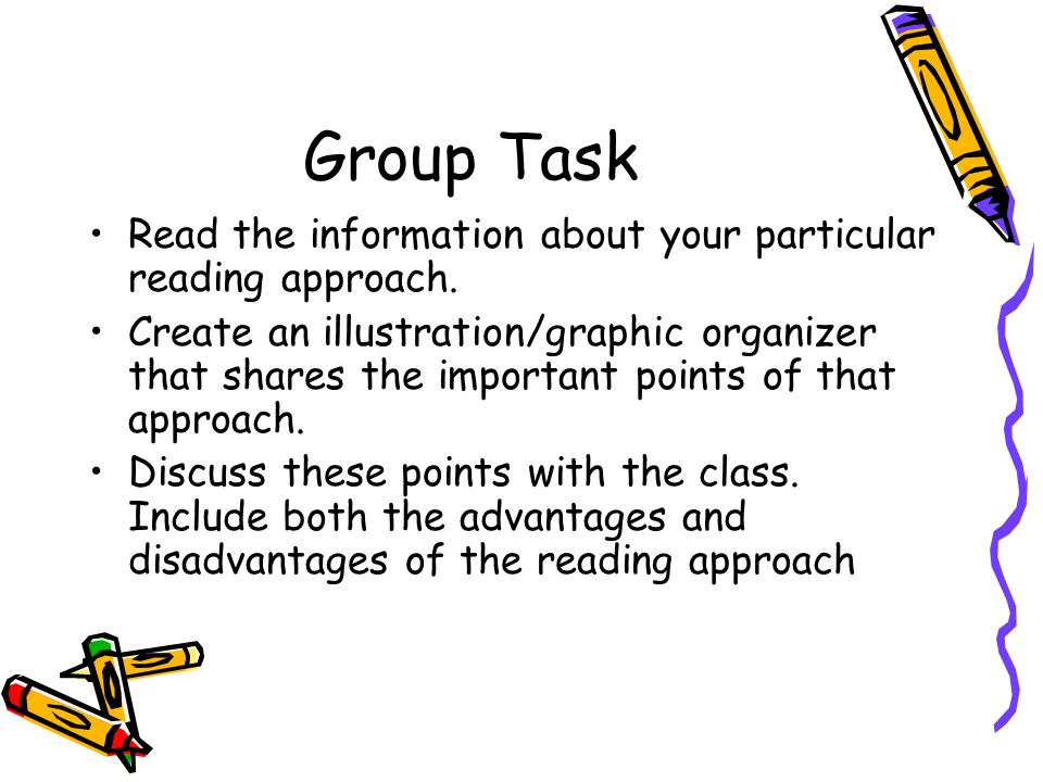 Group Task Read the information about your particular reading approach.