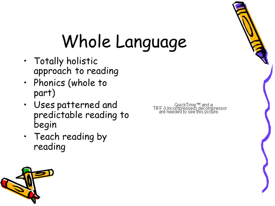 Whole Language Totally holistic approach to reading