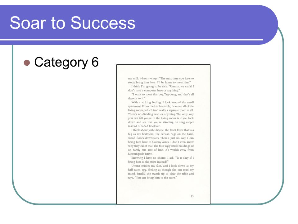 Soar to Success Category 6