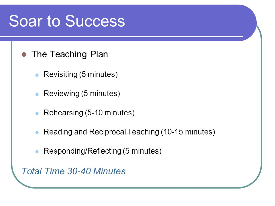 Soar to Success The Teaching Plan Total Time 30-40 Minutes