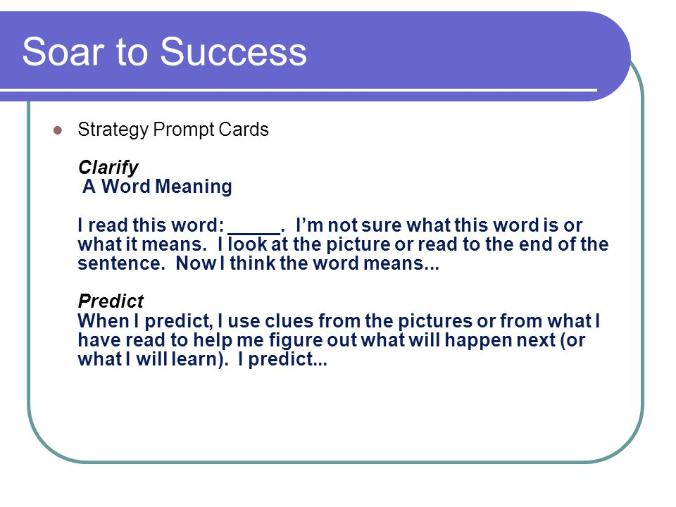 Soar to Success Strategy Prompt Cards Clarify A Word Meaning