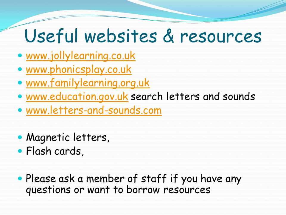 Useful websites & resources