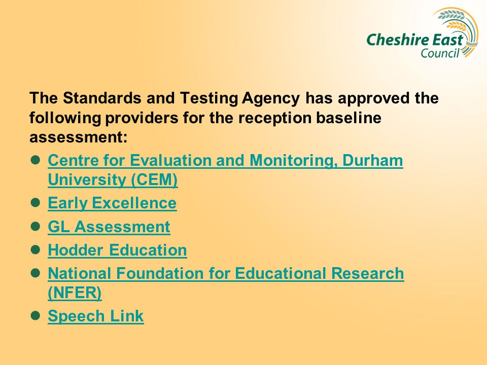 The Standards and Testing Agency has approved the following providers for the reception baseline assessment: