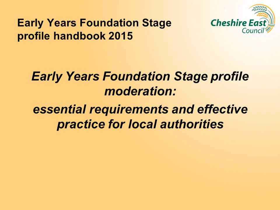 Early Years Foundation Stage profile handbook 2015