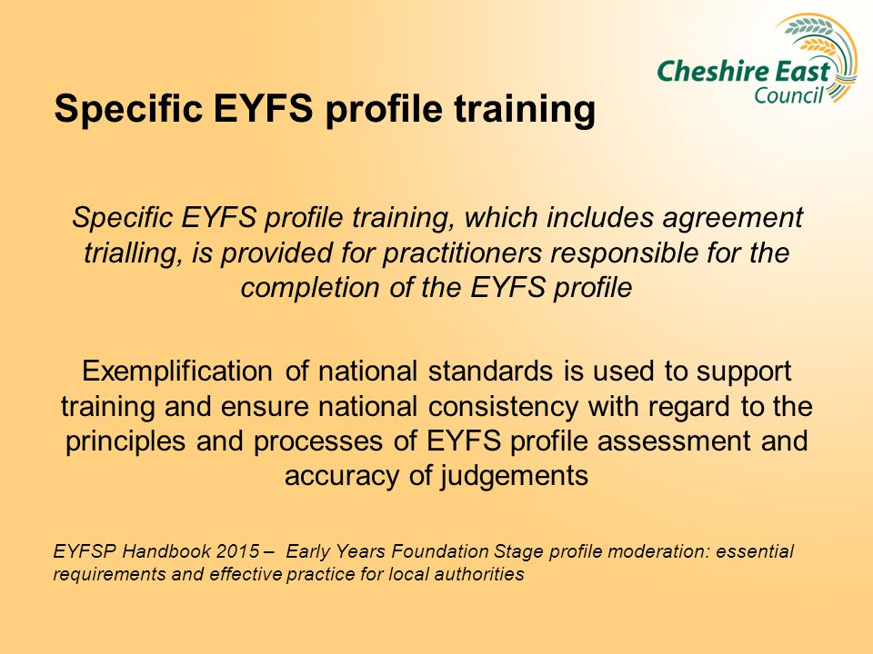 Specific EYFS profile training