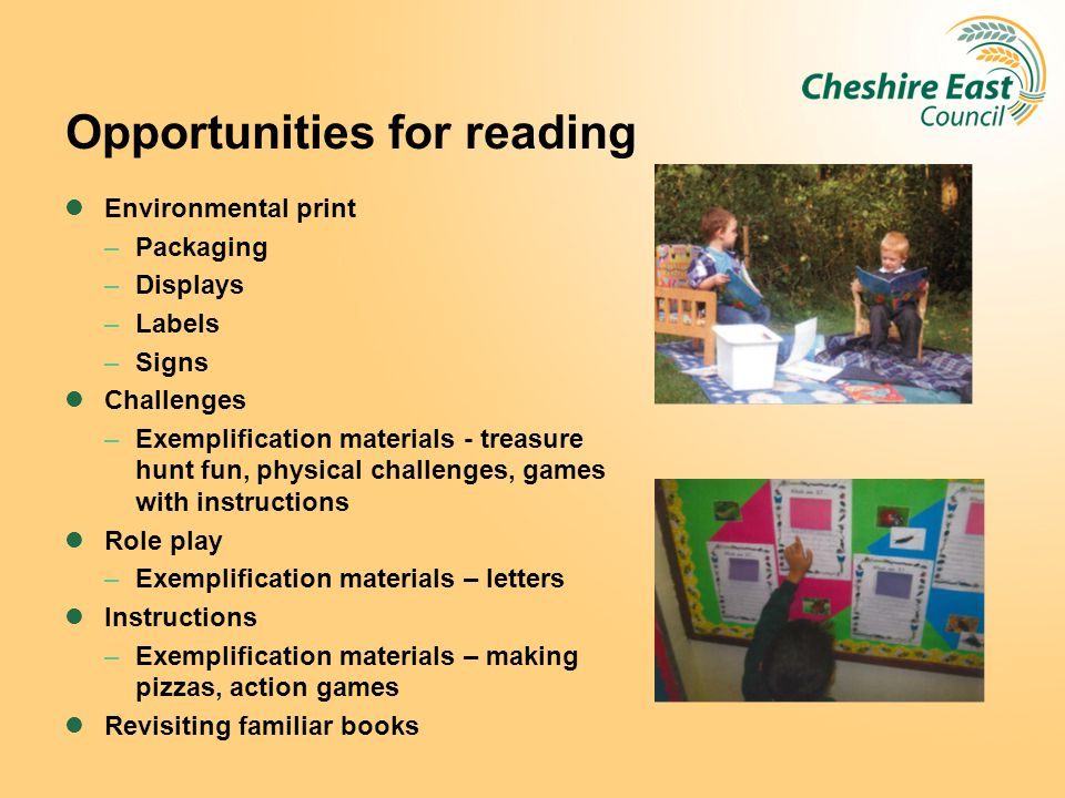 Opportunities for reading