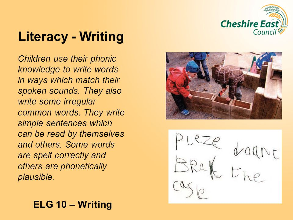 Literacy - Writing ELG 10 – Writing