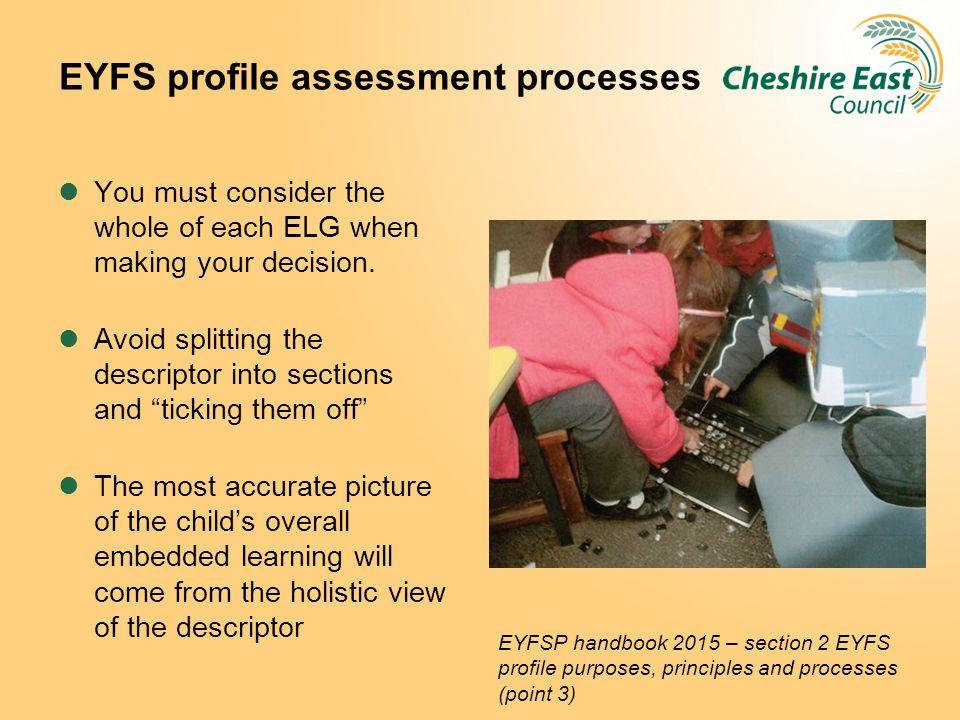 EYFS profile assessment processes