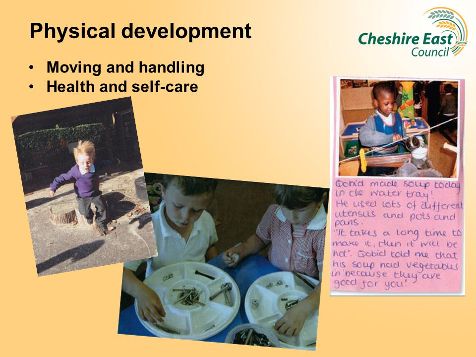 Physical development Moving and handling Health and self-care