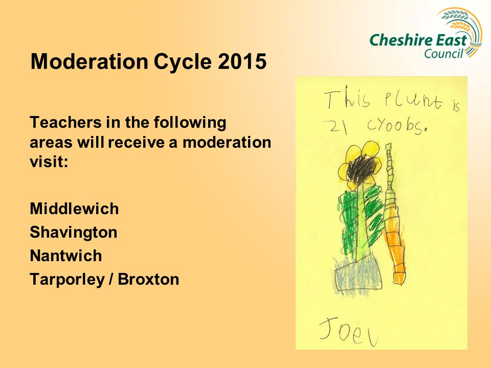 Moderation Cycle 2015 Teachers in the following areas will receive a moderation visit: Middlewich.