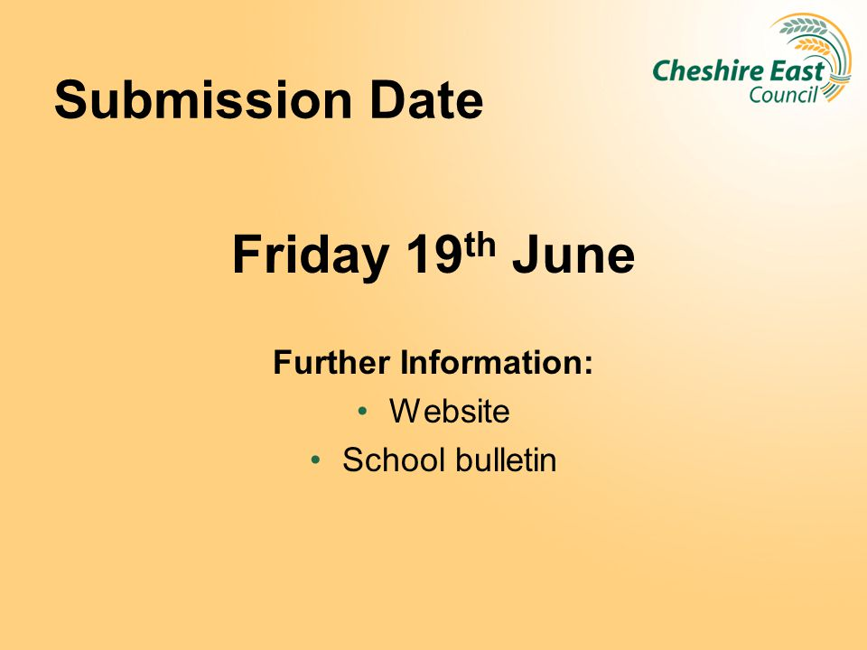 Submission Date Friday 19th June Further Information: Website