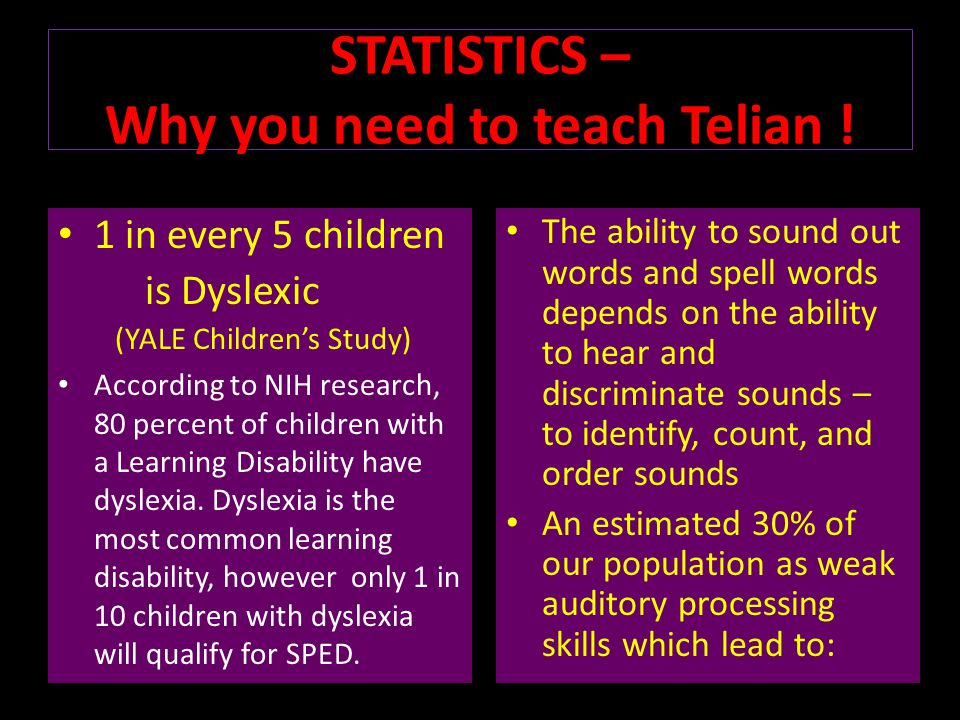 STATISTICS – Why you need to teach Telian !