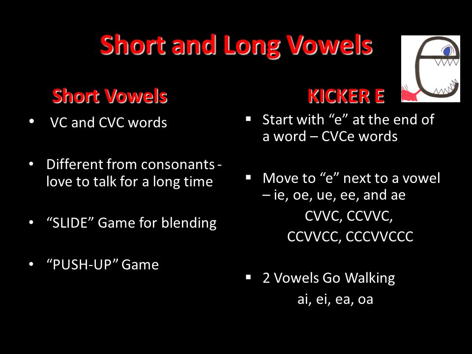 Short and Long Vowels Short Vowels KICKER E VC and CVC words
