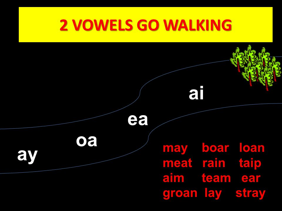 ai ea oa ay 2 VOWELS GO WALKING may boar loan meat rain taip