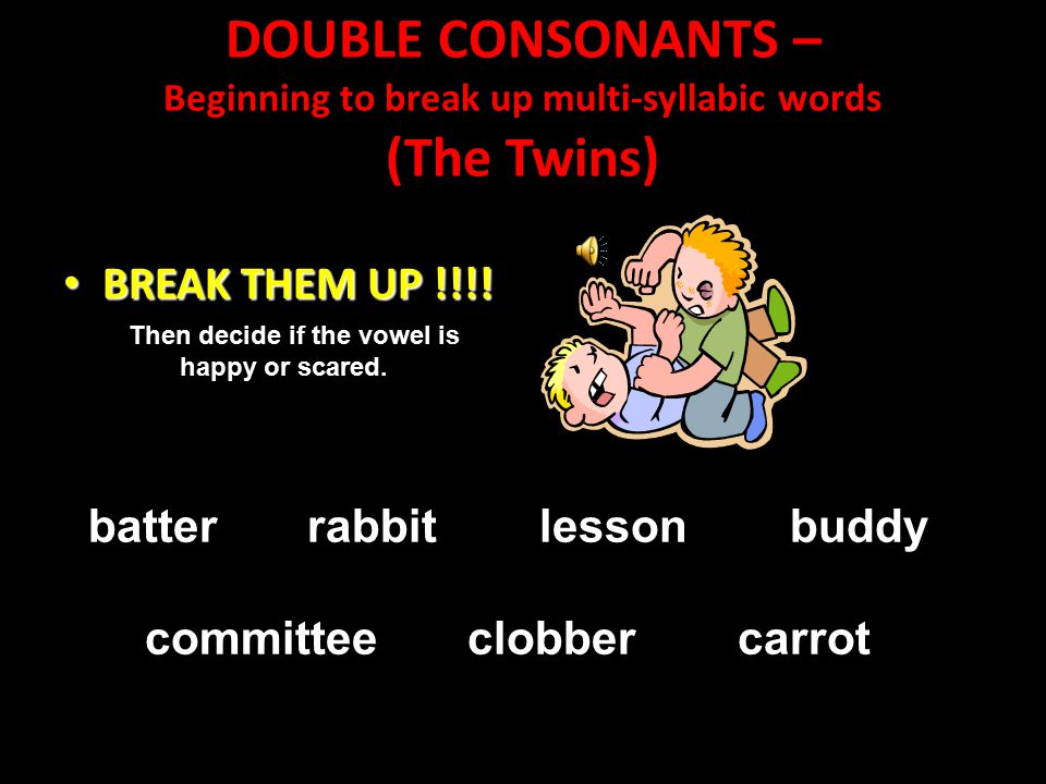 DOUBLE CONSONANTS – Beginning to break up multi-syllabic words (The Twins)