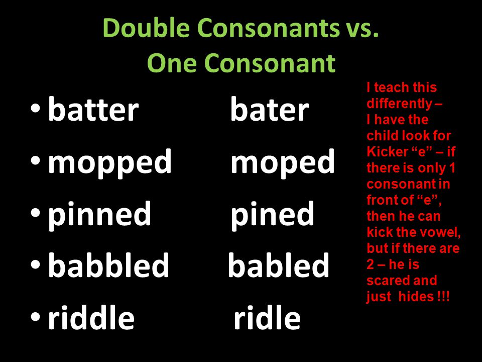 Double Consonants vs. One Consonant