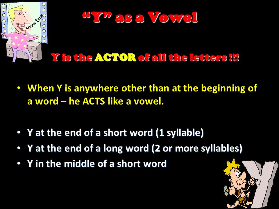 Y is the ACTOR of all the letters !!!