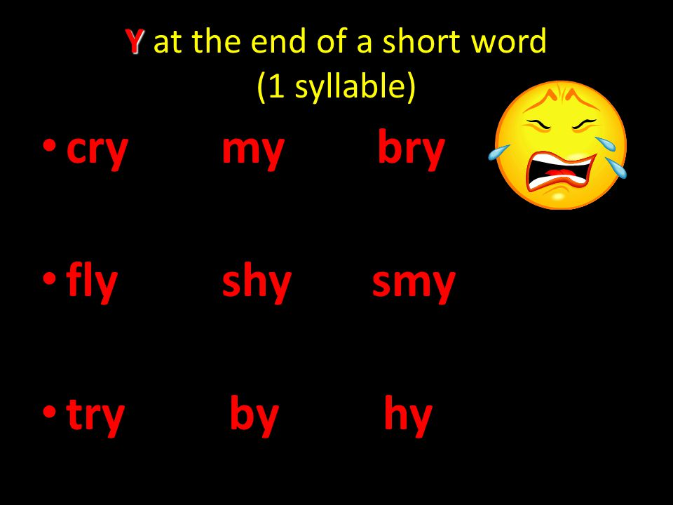 Y at the end of a short word (1 syllable)