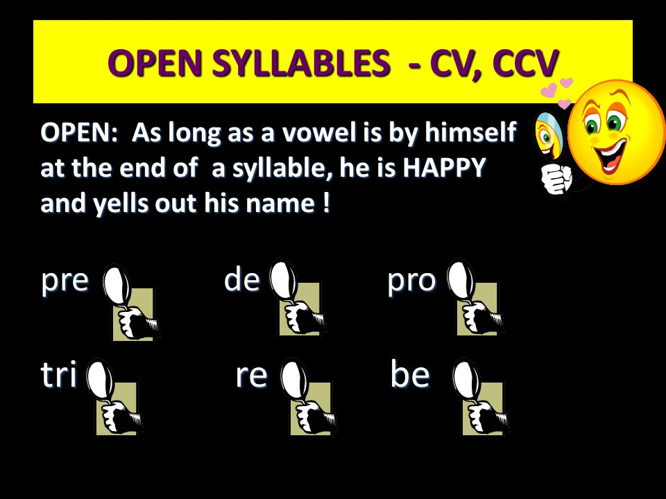 OPEN SYLLABLES - CV, CCV tri re be pre de pro