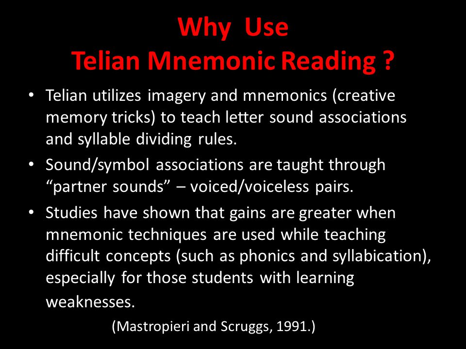 Why Use Telian Mnemonic Reading