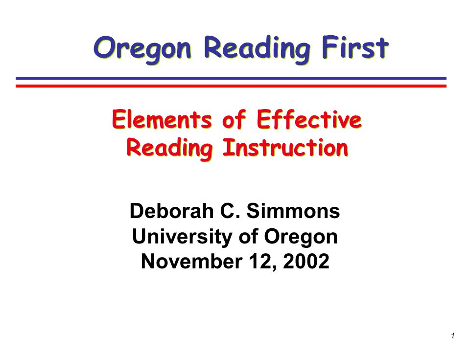 Elements of Effective Reading Instruction