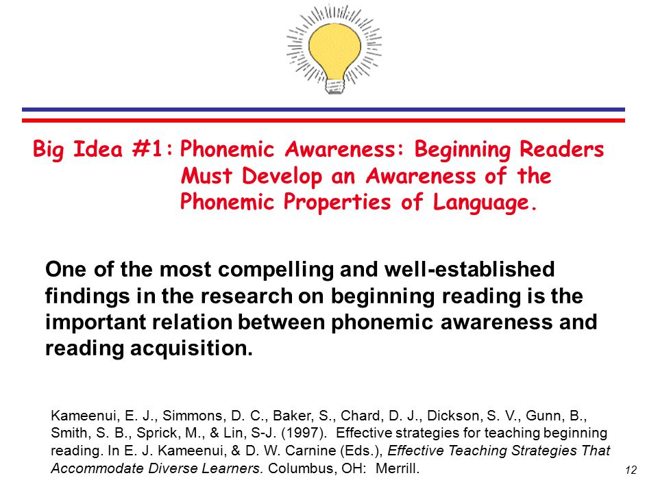 Big Idea #1: Phonemic Awareness: Beginning Readers Must Develop an Awareness of the Phonemic Properties of Language.