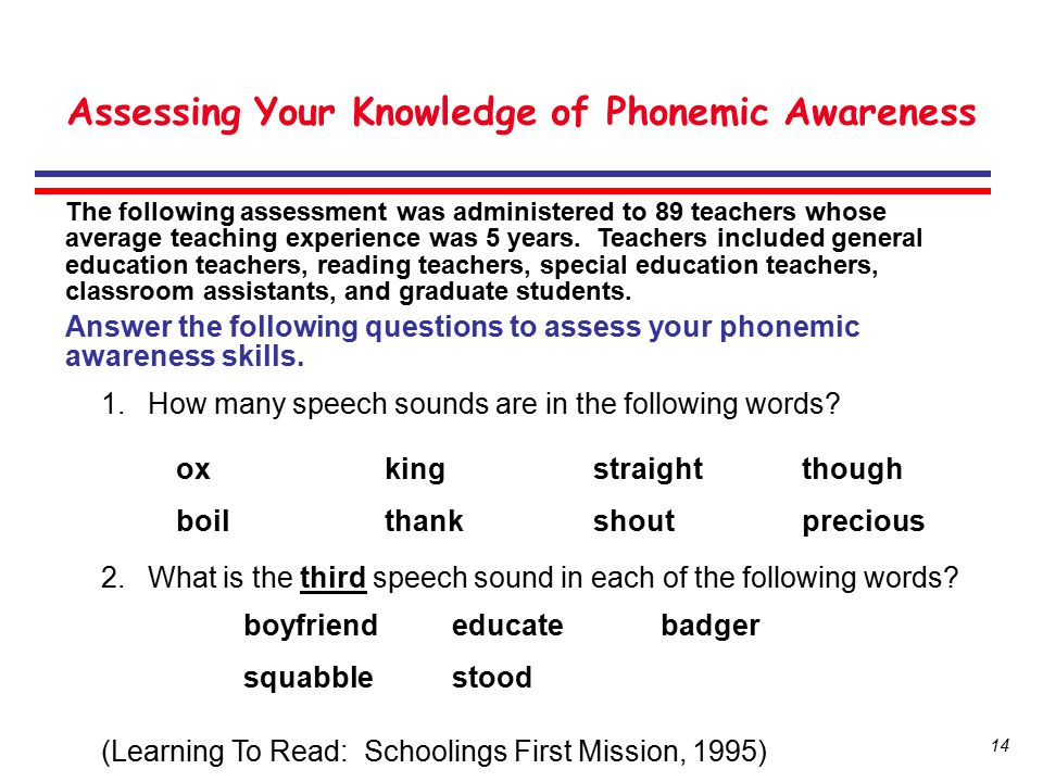 Assessing Your Knowledge of Phonemic Awareness