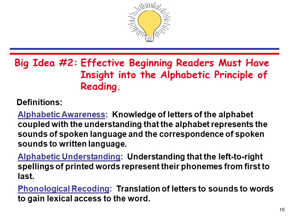 Big Idea #2: Effective Beginning Readers Must Have Insight into the Alphabetic Principle of Reading.