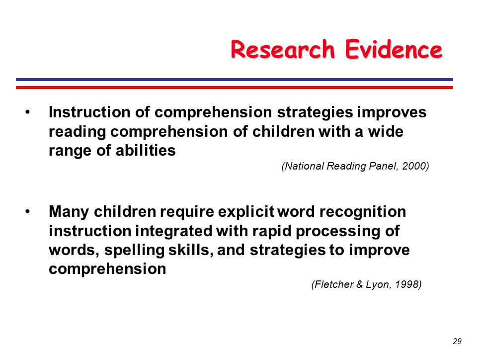 Research Evidence Instruction of comprehension strategies improves reading comprehension of children with a wide range of abilities.