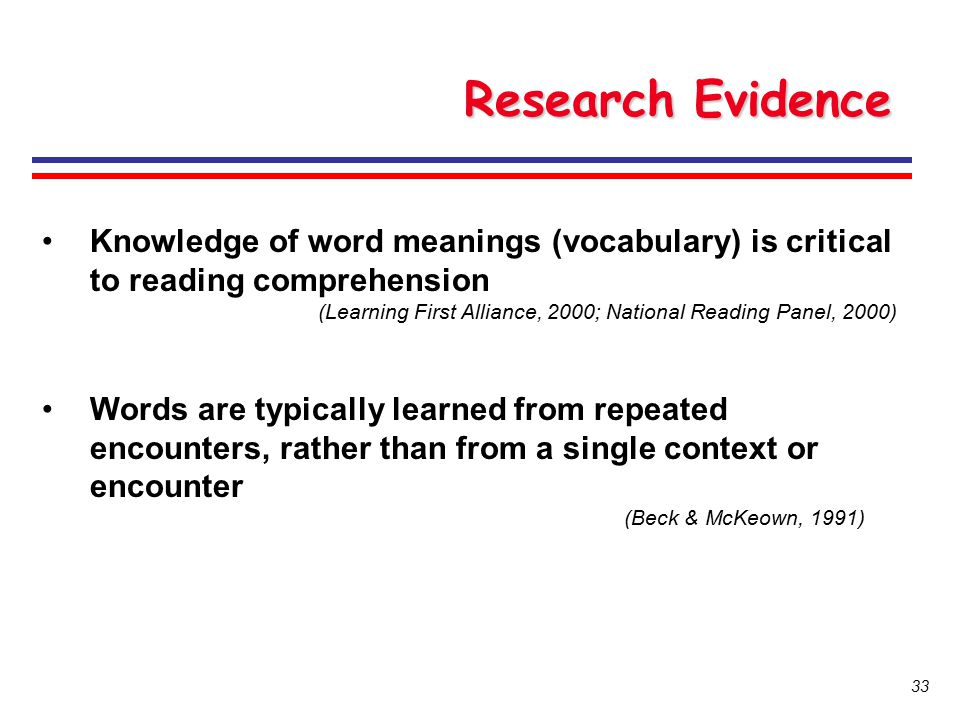 Research Evidence Knowledge of word meanings (vocabulary) is critical to reading comprehension.