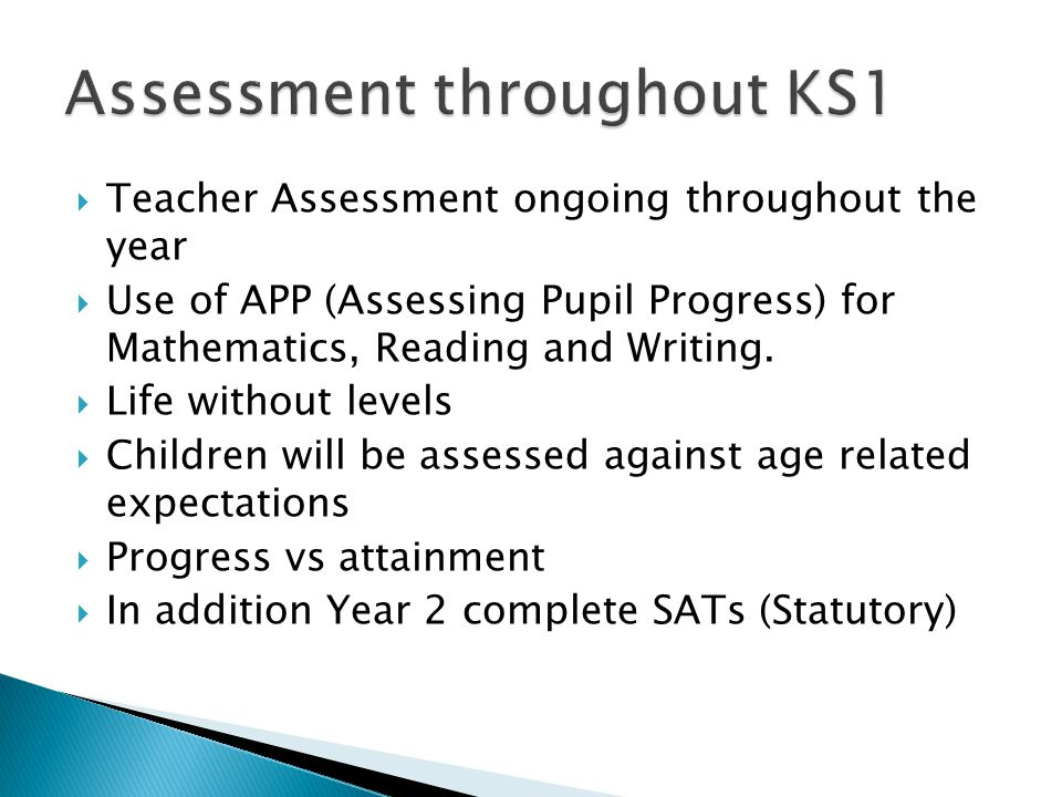Assessment throughout KS1