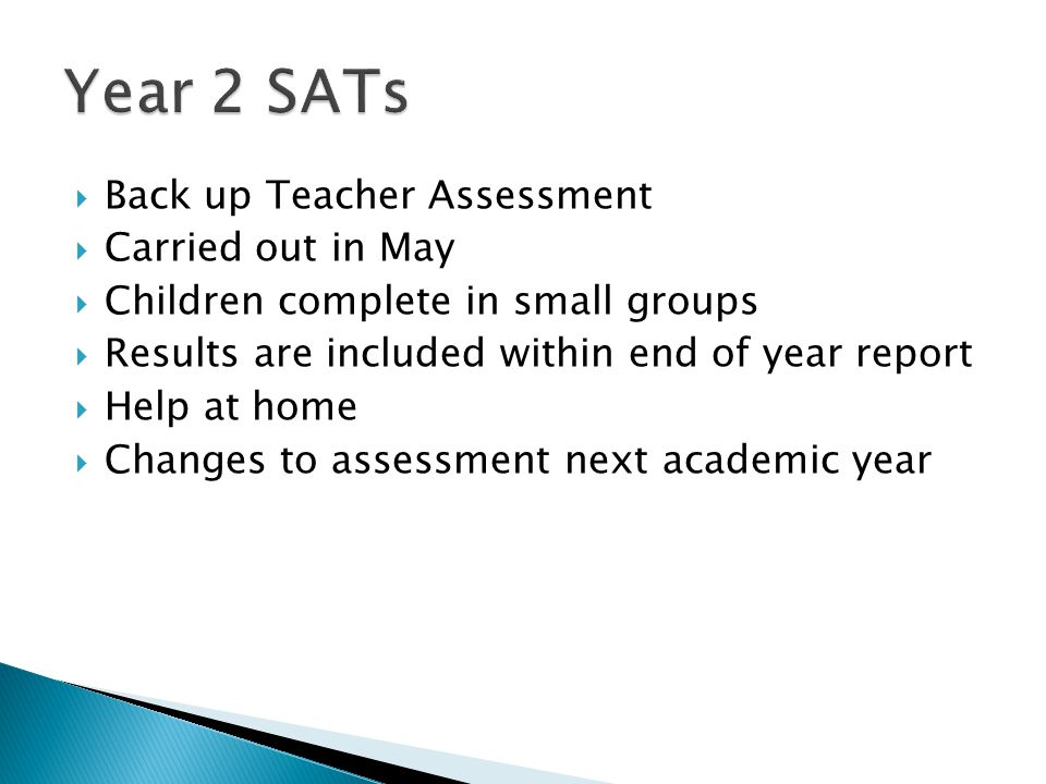 Year 2 SATs Back up Teacher Assessment Carried out in May