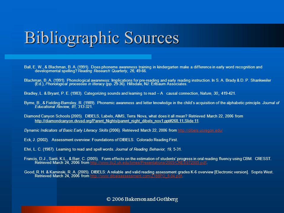 Bibliographic Sources