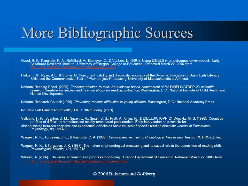 More Bibliographic Sources