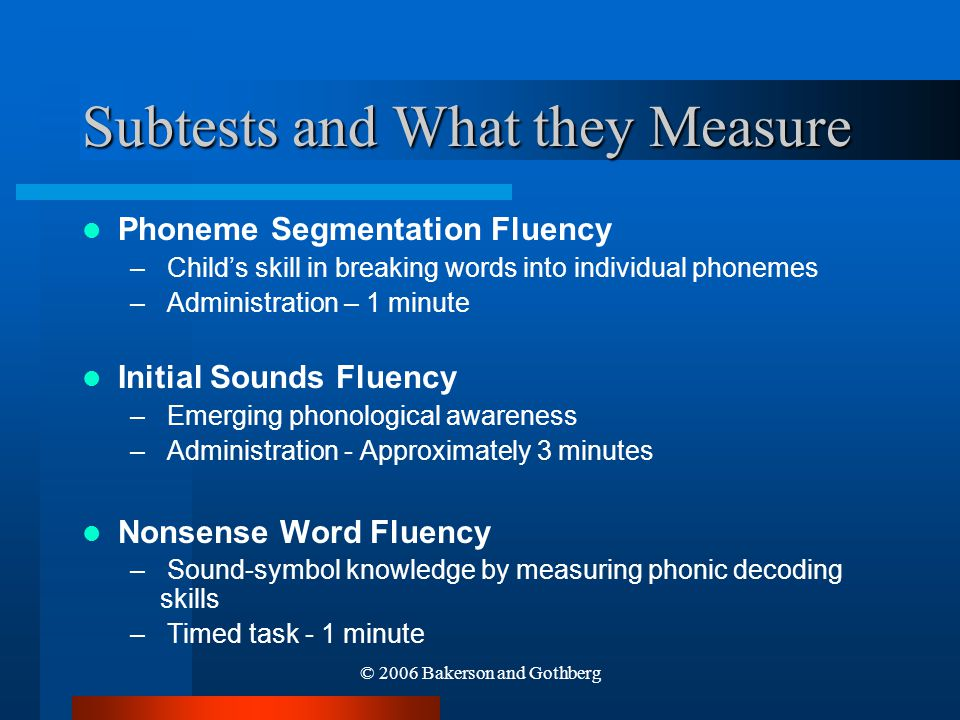 Subtests and What they Measure
