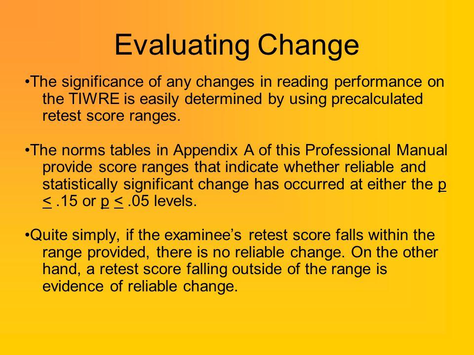 Evaluating Change