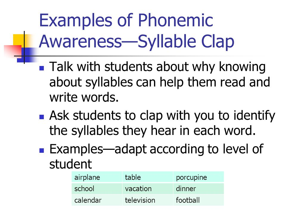Examples of Phonemic Awareness—Syllable Clap