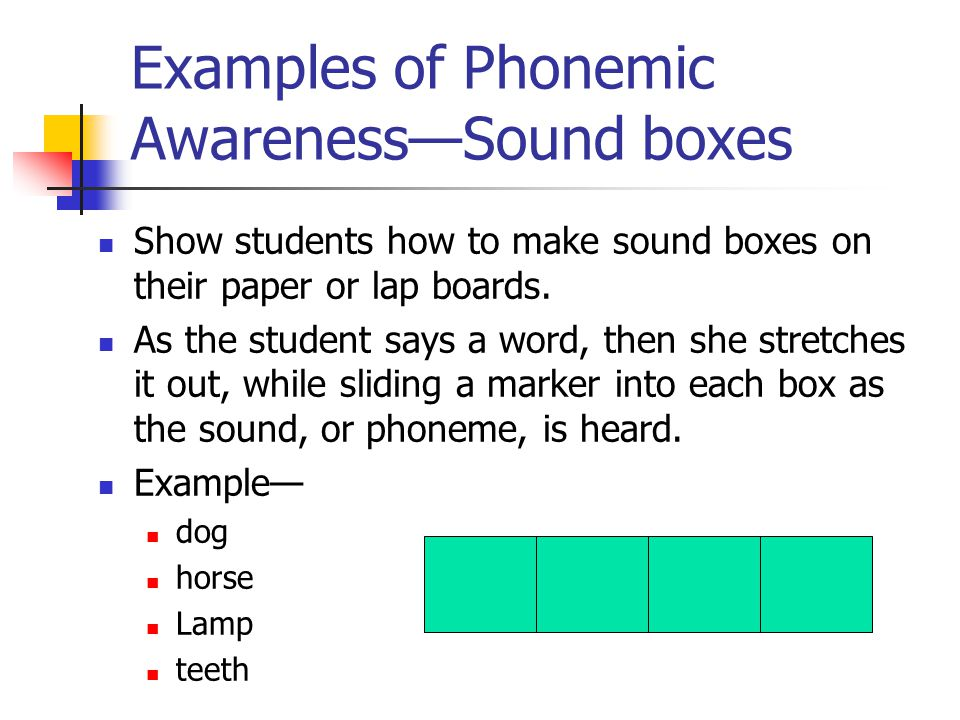 Examples of Phonemic Awareness—Sound boxes