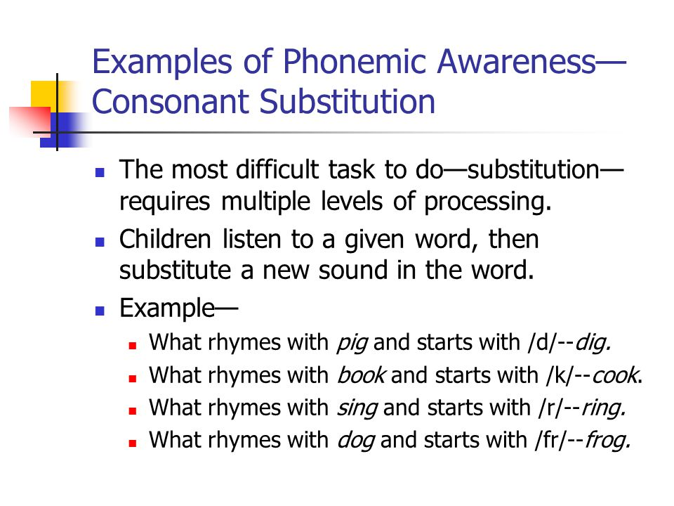 Examples of Phonemic Awareness— Consonant Substitution