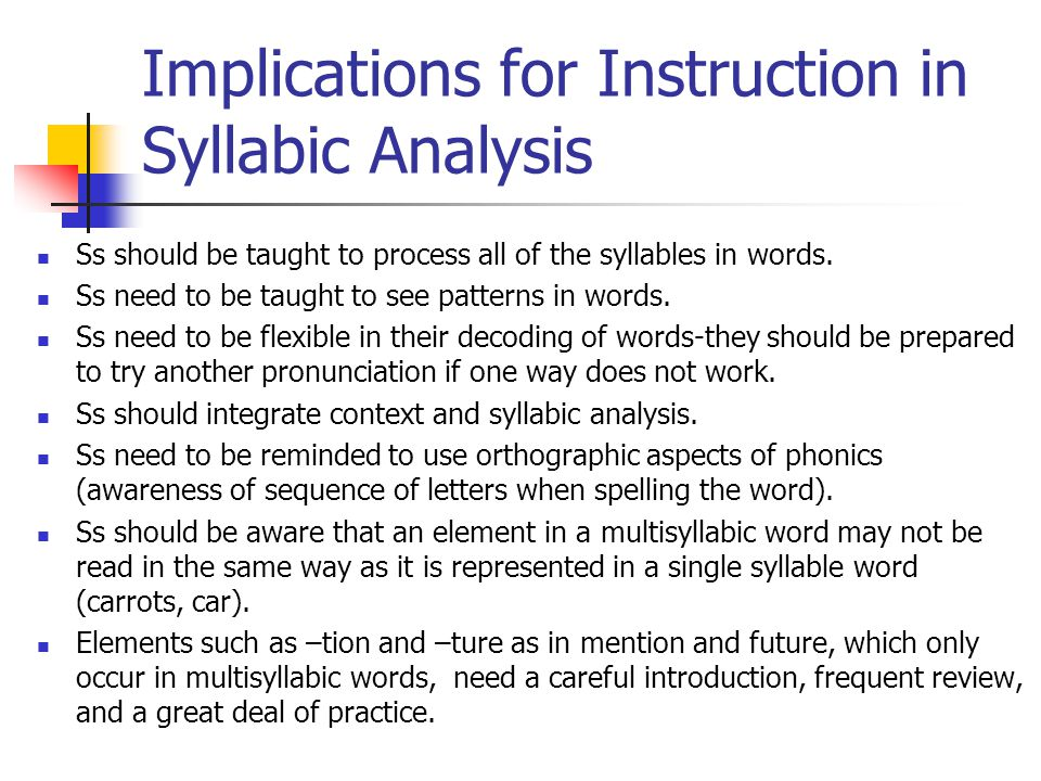 Implications for Instruction in Syllabic Analysis