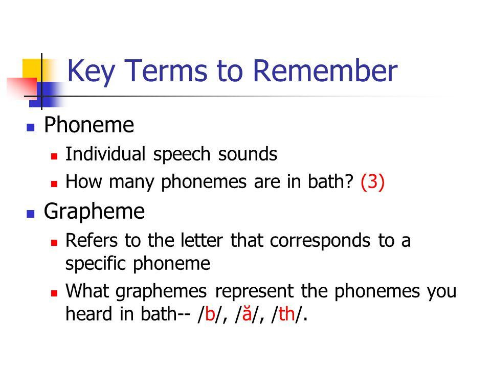 Key Terms to Remember Phoneme Grapheme Individual speech sounds