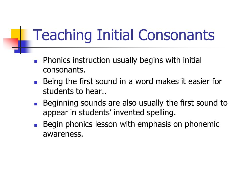 Teaching Initial Consonants