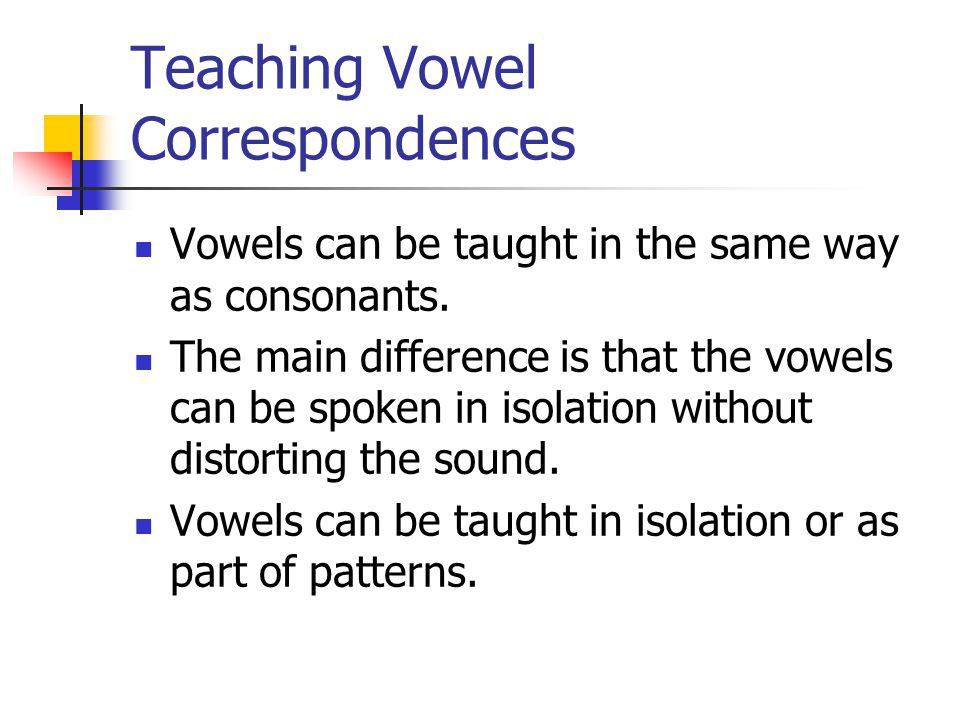 Teaching Vowel Correspondences