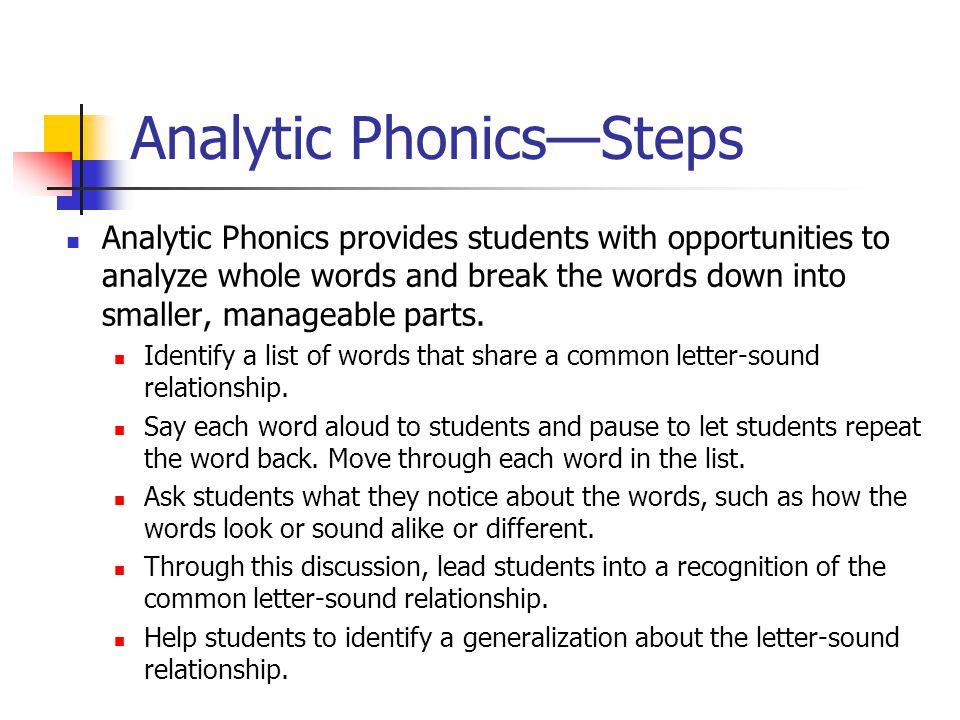 Analytic Phonics—Steps