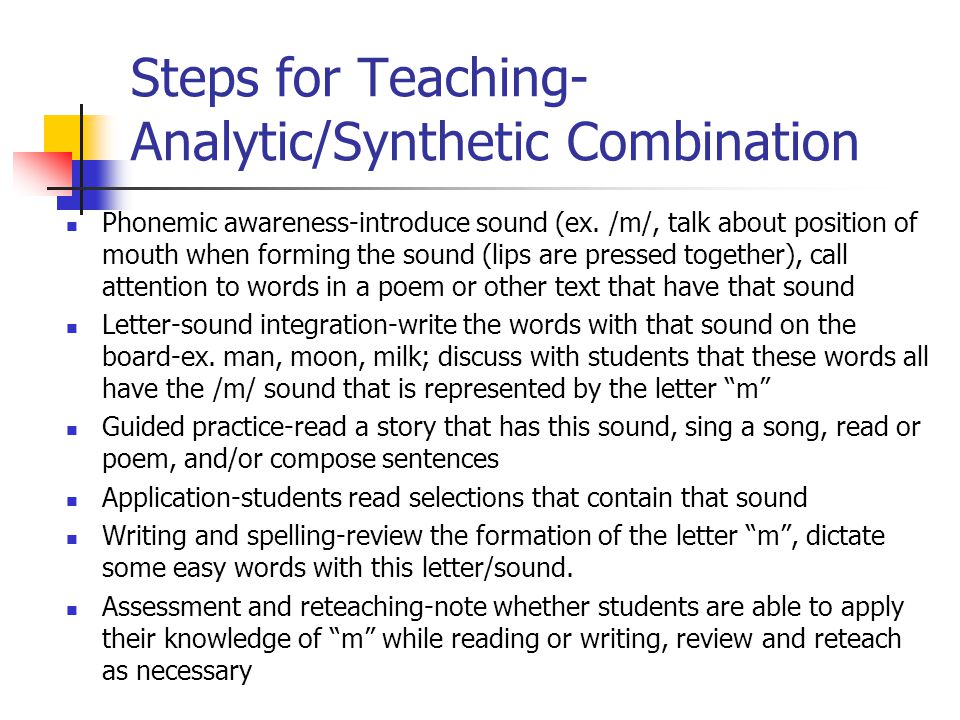Steps for Teaching-Analytic/Synthetic Combination