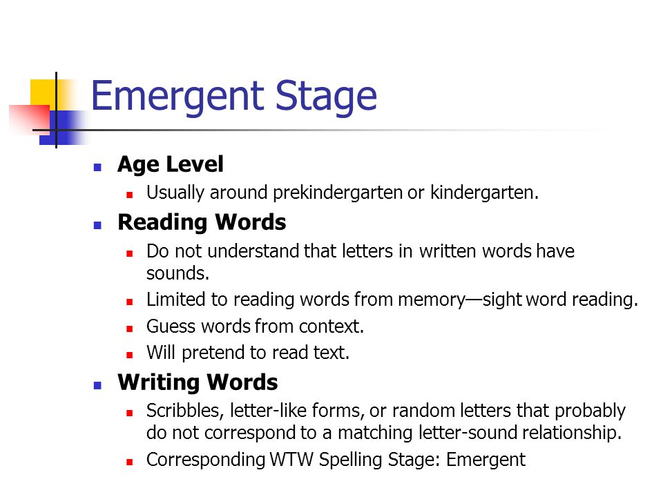 Emergent Stage Age Level Reading Words Writing Words