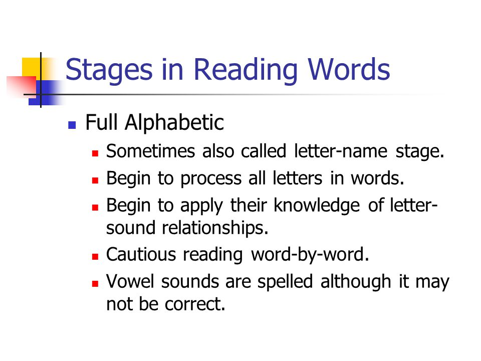 Stages in Reading Words