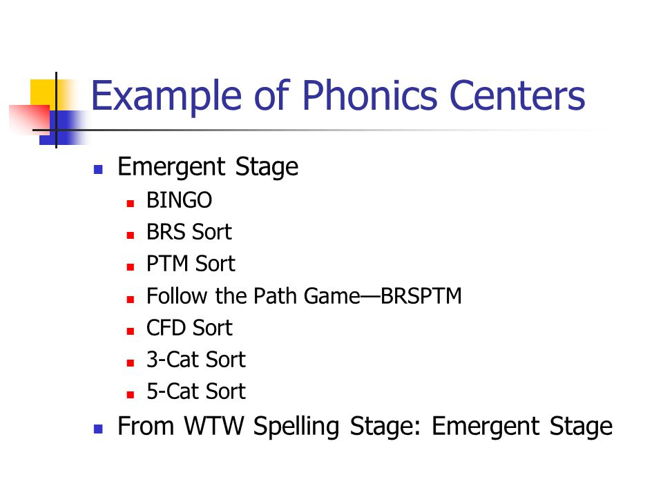 Example of Phonics Centers